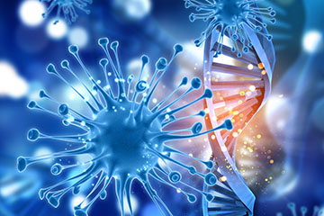 3D medical background with virus cells and DNA strands